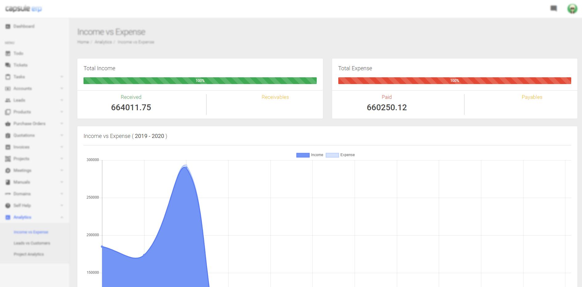 Analytics - CAPSULE ERP